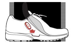 Rangez le capteur dans l'emplacement prévu de votre chaussure